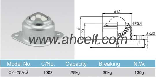 CY_25A ball transfer unit size
